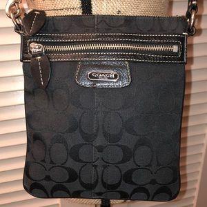 Coach black canvas crossbody purse